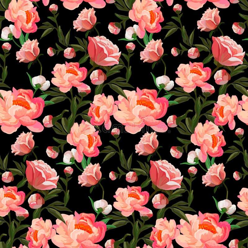 Безшовный цветочный узор с красными и оранжевыми розами на черной предпосылке Предпосылка классики розовая также вектор иллюстрац иллюстрация вектора