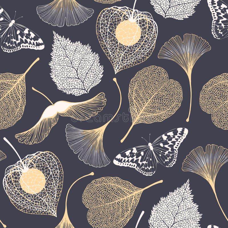 Безшовный цветочный узор с листьями biloba гинкго иллюстрация вектора