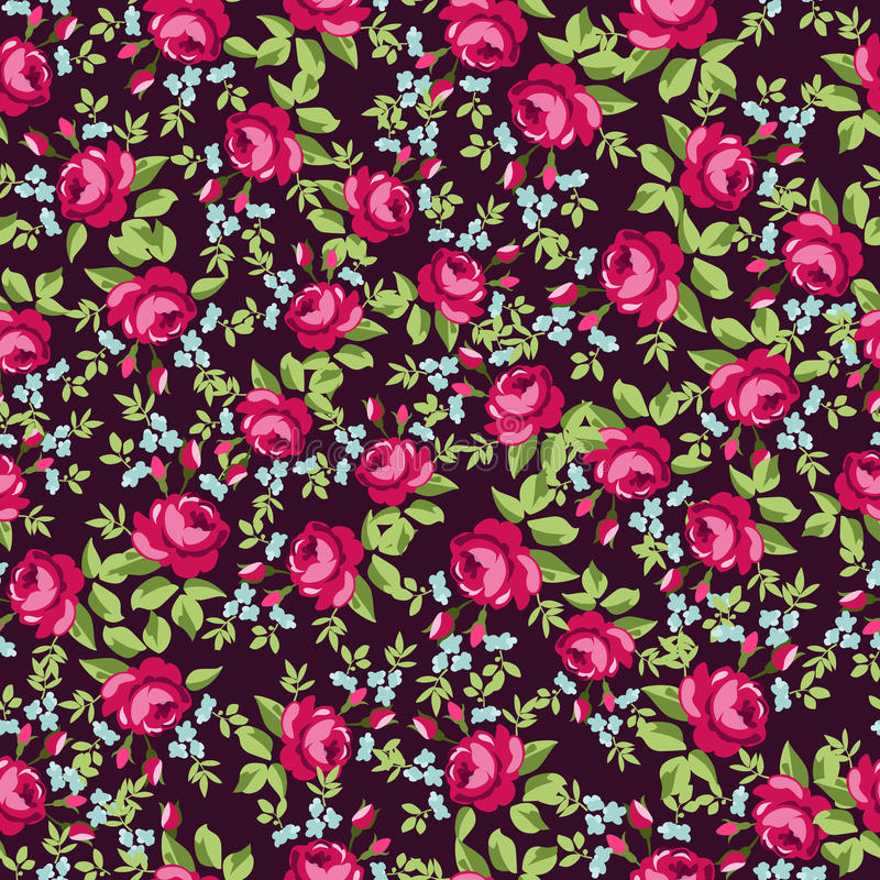 Безшовный цветочный узор с маленькими красными розами иллюстрация вектора