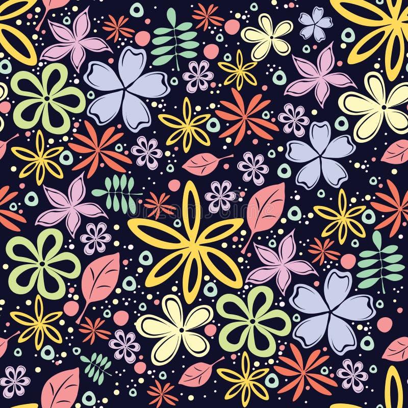 Безшовный цветочный узор с много маленькими цветками на черной предпосылке стоковые фото