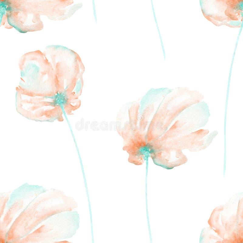 Безшовный цветочный узор с пинком акварели и мята проветривают цветки иллюстрация вектора