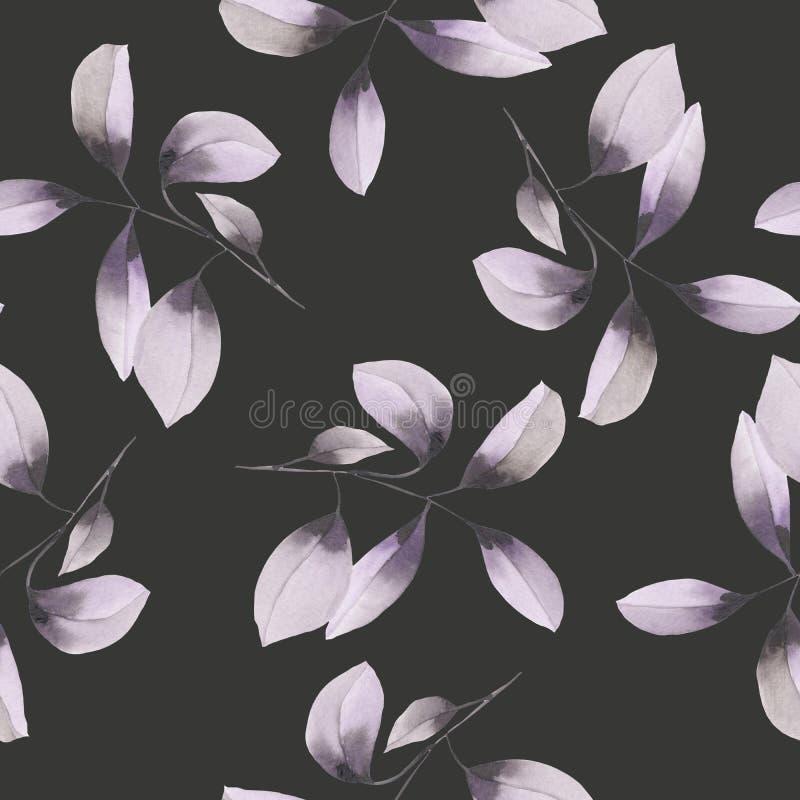 Безшовный цветочный узор с пурпуром акварели выходит на ветви иллюстрация вектора