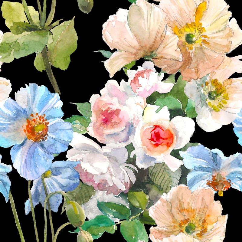 Безшовный цветочный узор с розами сада, желтым маком и голубым цветком на черной предпосылке изображение иллюстрации летания клюв иллюстрация штока