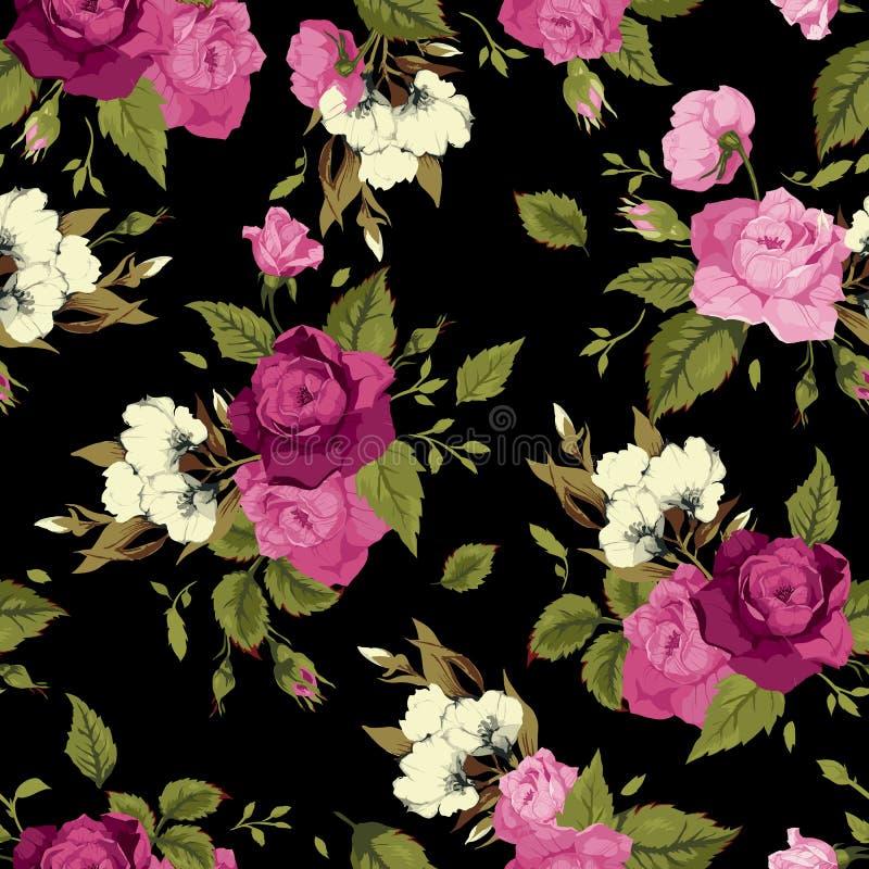 Безшовный цветочный узор с розовыми розами на черной предпосылке иллюстрация вектора
