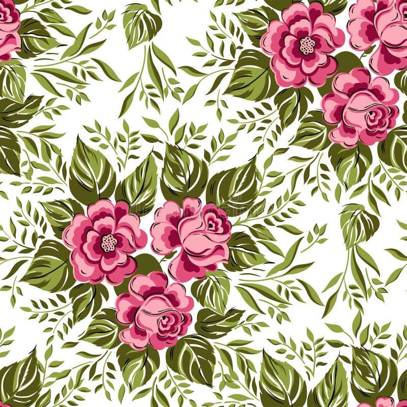 Безшовный цветочный узор с розовыми розами иллюстрация штока