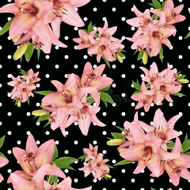 Безшовный цветочный узор с розовым цветком лилии стоковая фотография rf