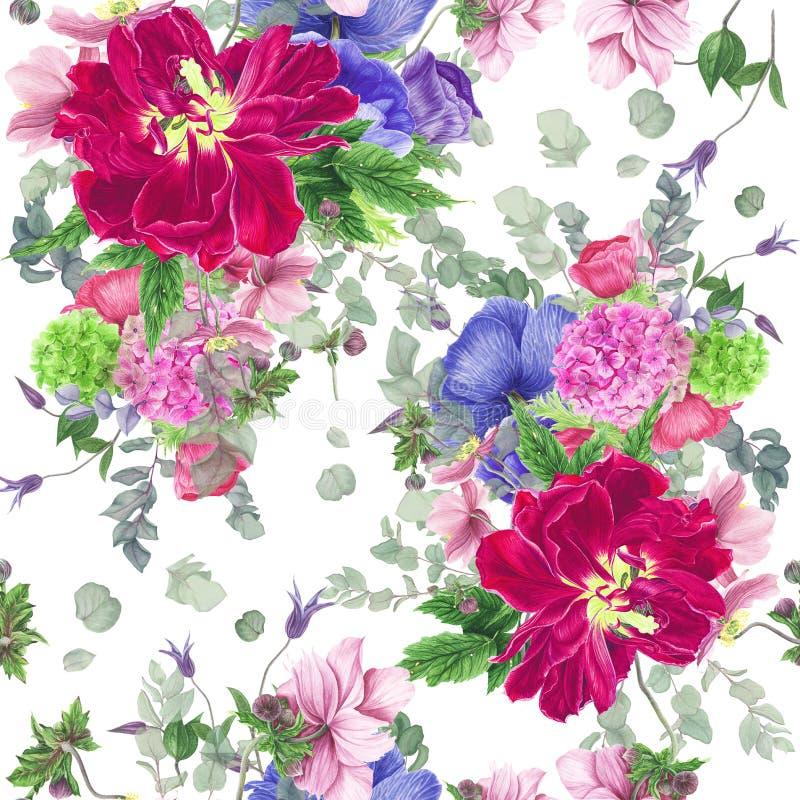 Безшовный цветочный узор с тюльпанами, ветреницами, гортензией, евкалиптом и листьями, картиной акварели стоковое изображение