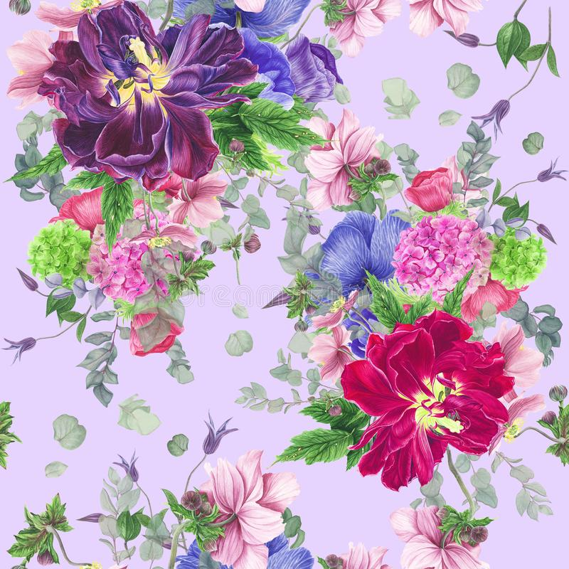 Безшовный цветочный узор с тюльпанами, ветреницами, гортензией, евкалиптом и листьями, картиной акварели иллюстрация штока