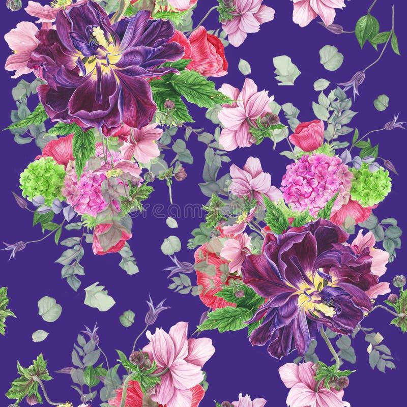 Безшовный цветочный узор с тюльпанами, ветреницами, гортензией, евкалиптом и листьями, картиной акварели иллюстрация вектора