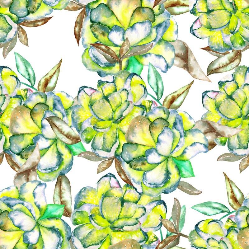 Безшовный цветочный узор с цветками акварели зелеными и желтыми экзотическими и листьями коричневого цвета иллюстрация штока