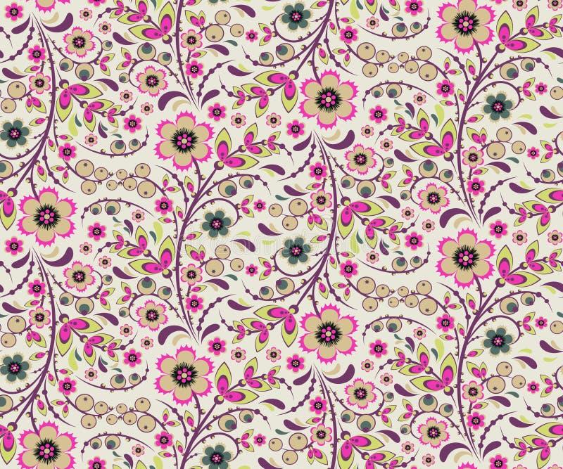 Безшовный цветочный узор с цветками в стиле Hohloma иллюстрация вектора