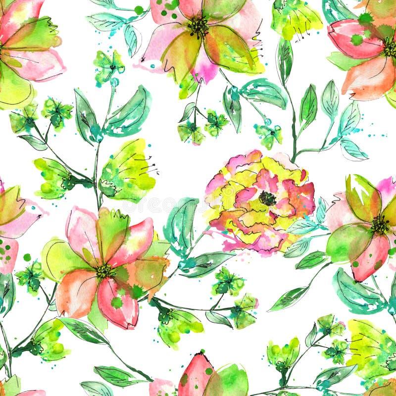 Безшовный цветочный узор с цветками желтого цвета рук-притяжки акварели, розовых и зеленых на ветвях с зелеными листьями иллюстрация вектора