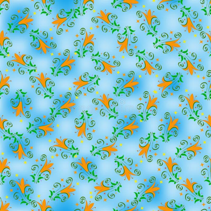 Безшовный цветочный узор ярких оранжевых лилий, зеленых листьев и скручиваемостей, против предпосылки светлых и темно-синих пятен бесплатная иллюстрация
