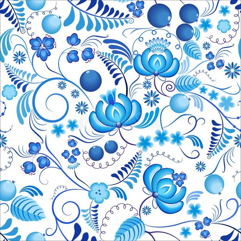 Безшовный цветочный узор Gzhel с голубыми орнаментальными цветками и белой предпосылкой Русский орнамент иллюстрация вектора