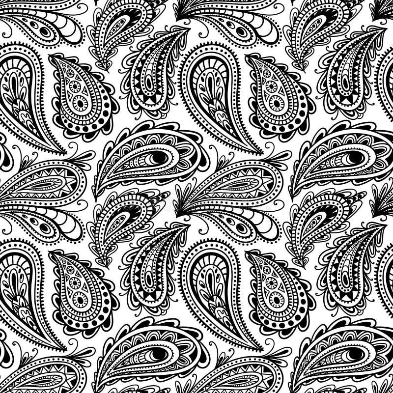 Безшовный черно-белый орнамент Пейсли Огурец turkish печати Нарисованная вручную картина для тканей также вектор иллюстрации прит иллюстрация вектора