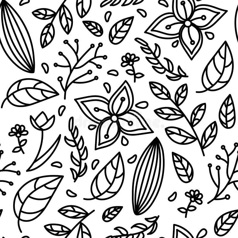 Безшовный черный белый цветочный узор бесплатная иллюстрация