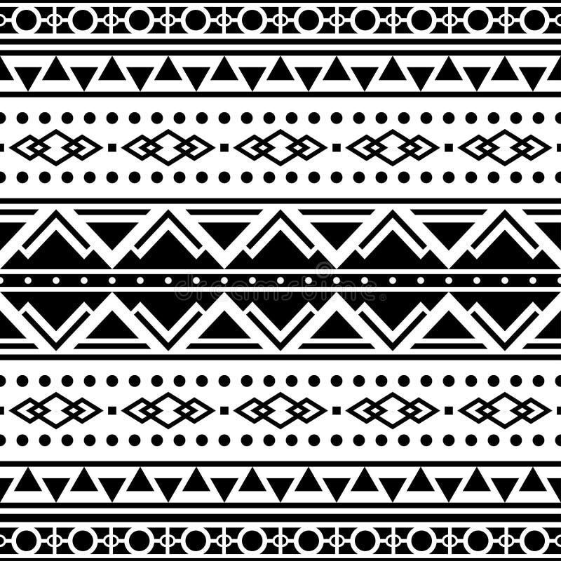 Безшовный этнический дизайн картины Ацтекская иллюстрация вектора Оформление предпосылки мотива Inca в Monochrome цвете иллюстрация штока