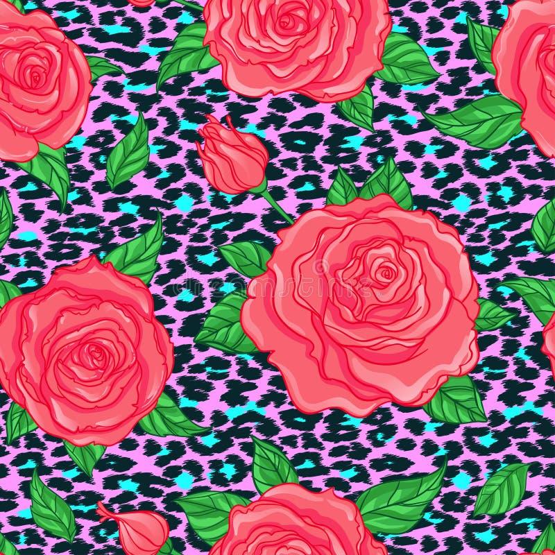 Безшовный элегантный винтажный цветочный узор над backgr кожи леопарда иллюстрация вектора