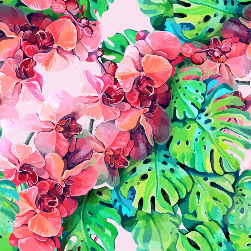 Безшовный элемент картины красочной орхидеи бесплатная иллюстрация
