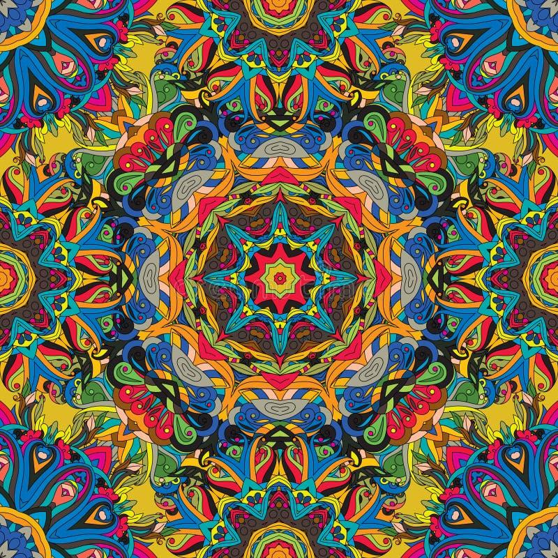 Безшовный, яркая, богато украшенная картина с мандалами Шаблон для тканей, шаль, ковер, плитка востоковедный орнамент иллюстрация вектора