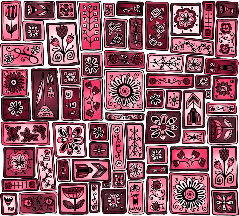Безшовный doodle картины цветет, листья, сердца бесплатная иллюстрация