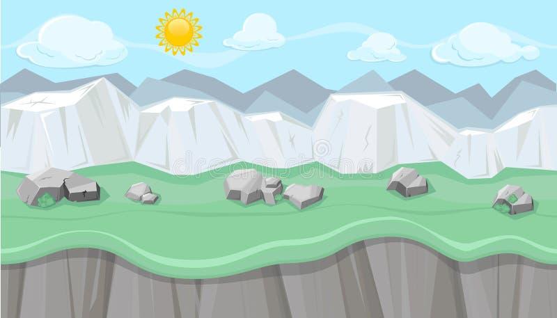 Безшовный editable гористый ландшафт с белыми скалами для игрового дизайна бесплатная иллюстрация