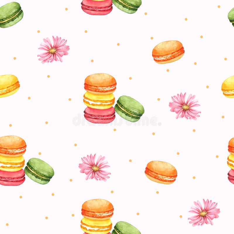 Безшовный Macaroon картины и розовый цветок для упаковки, предпосылки Брайна для одежды детей Нарисованная рука акварели иллюстрация вектора