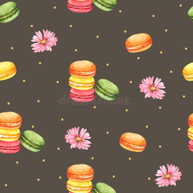 Безшовный Macaroon картины и розовый цветок для упаковки, предпосылки Брайна для одежды детей Нарисованная рука акварели бесплатная иллюстрация