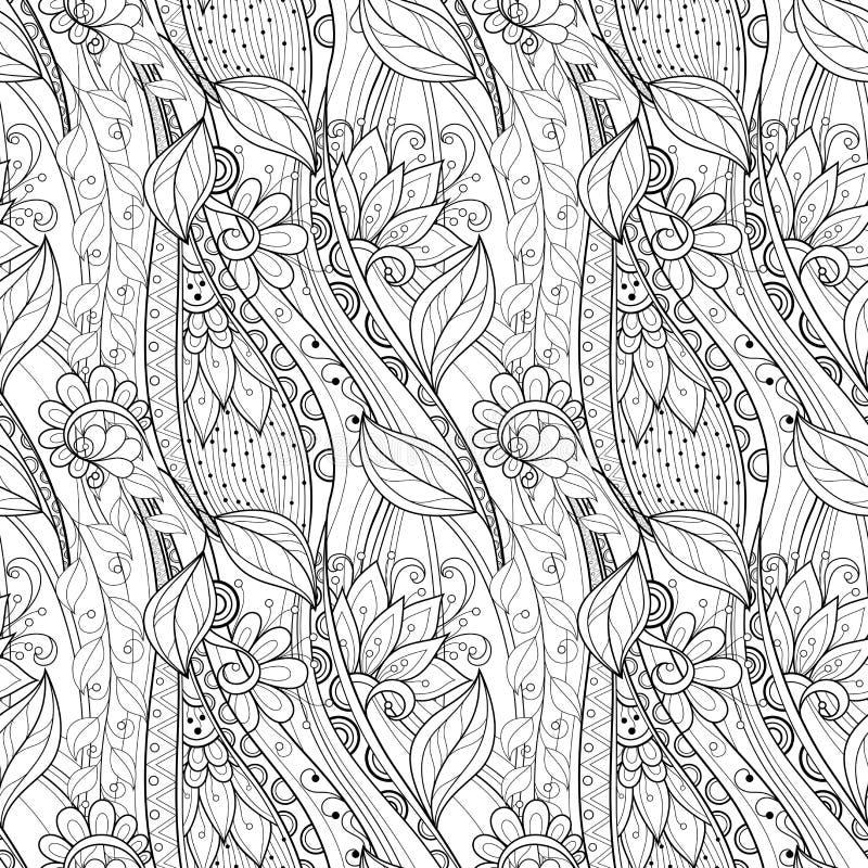 Безшовный Monochrome цветочный узор (вектор) иллюстрация штока