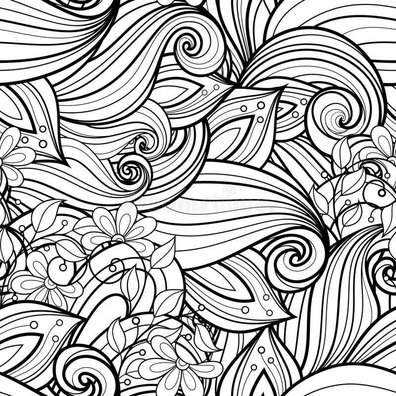 Безшовный Monochrome цветочный узор (вектор) иллюстрация вектора