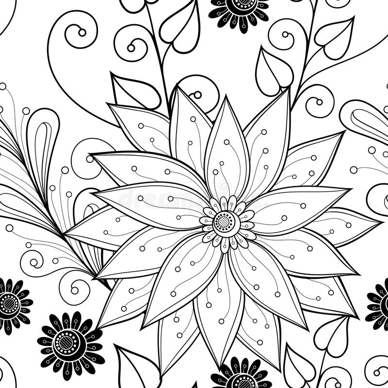 Безшовный Monochrome цветочный узор (вектор) бесплатная иллюстрация
