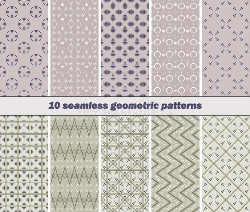 10 безшовных абстрактных геометрических картин striped элемента лопастей иллюстрация вектора