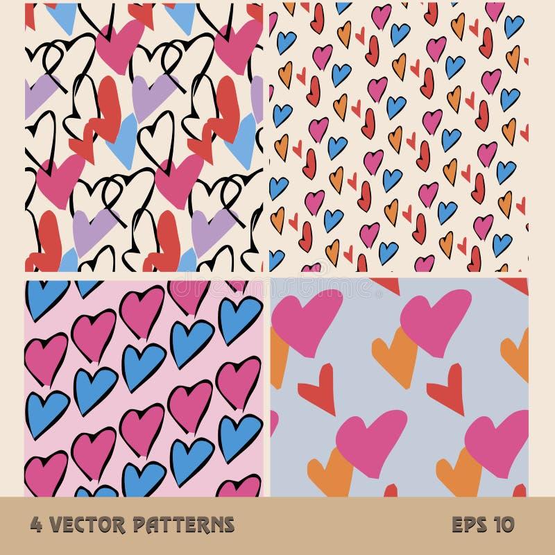 4 безшовных картины сердец на предпосылке стоковое изображение rf