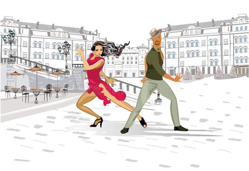 Beautiful romantic couple in passionate Latin American dances. Salsa festival. Hand drawn poster background vector illustration