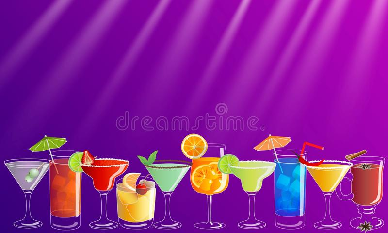 Cocktail party vector invitation poster / banner with colorful hand drawn drinks stock illustration