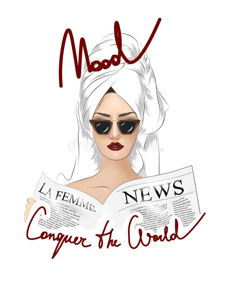 Conquer the world slogan with girl in sunglasses illustration. stock illustration