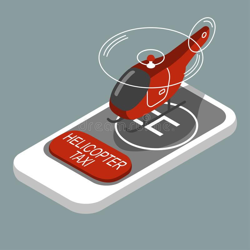 Helicopter taxi service, isometric vector, mobile app. Lication royalty free illustration