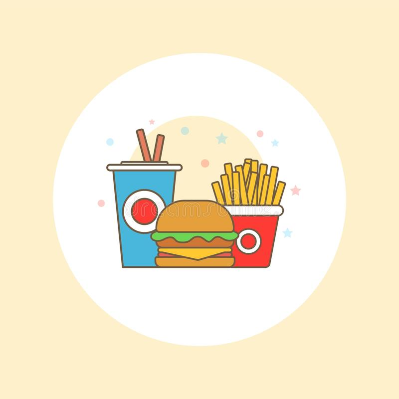 Fast food vector logo. Fast food hamburger dinner and restaurant, tasty set fast food many meal and unhealthy fast food. royalty free stock photo