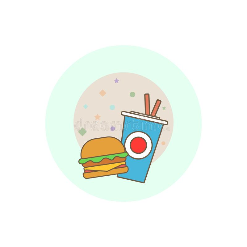 Fast food vector logo. Fast food hamburger dinner and restaurant, tasty set fast food many meal and unhealthy fast food. stock photography