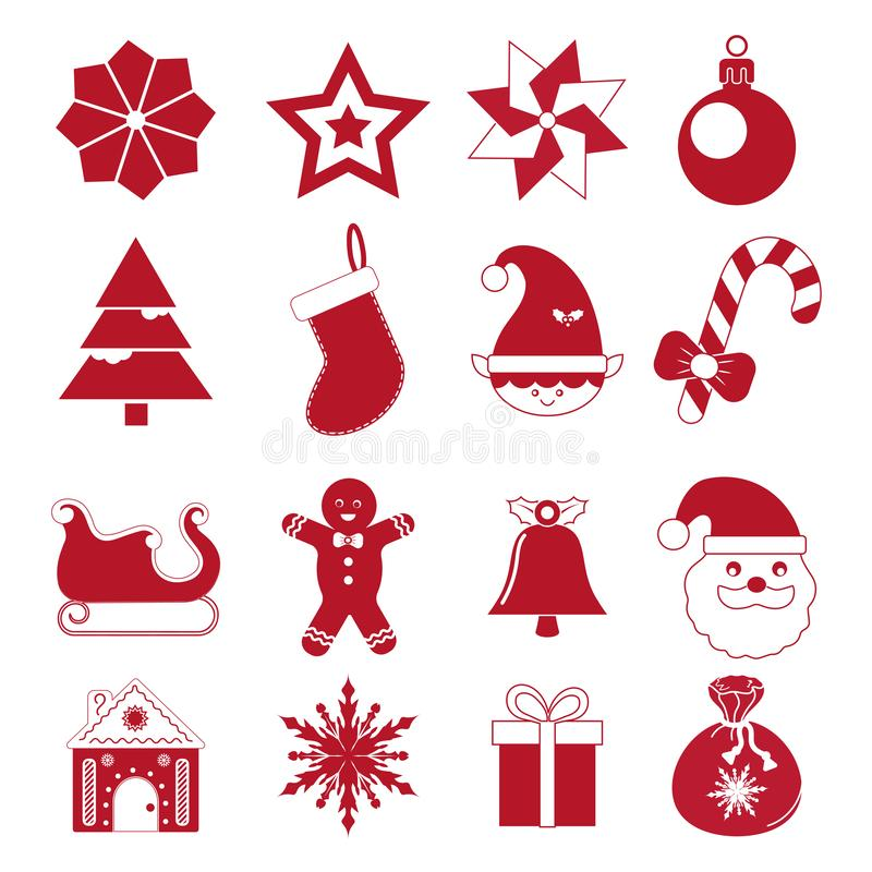 Set of New Year, Christmas, flat icons. vector illustration