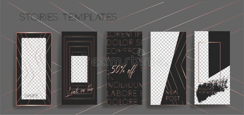 Instagram stories frame templates. Vector background. Mockup for social media banner. stock illustration