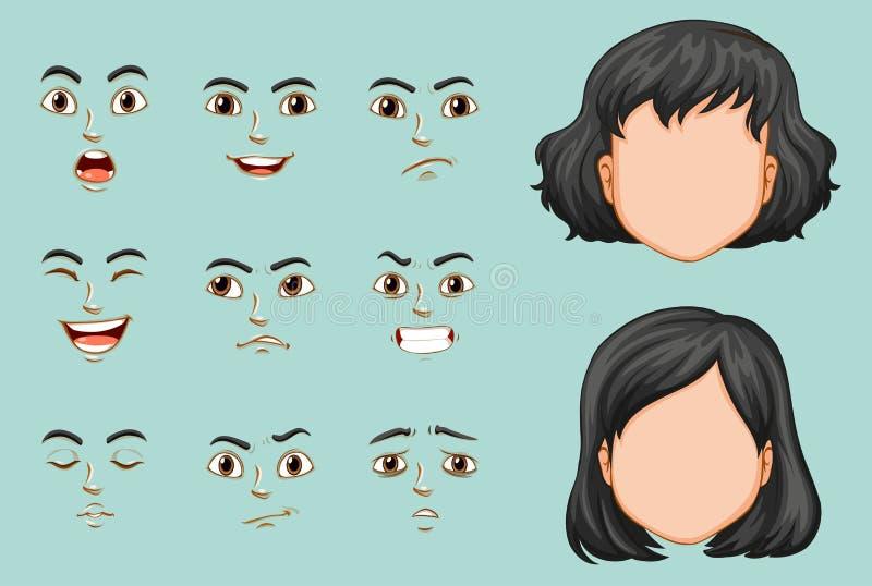 Безликая женщина при различные установленные выражения иллюстрация вектора