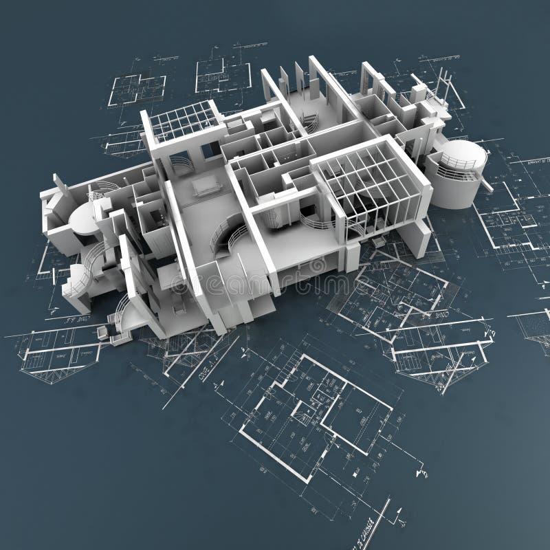 Без крыши здание поверх светокопий иллюстрация вектора