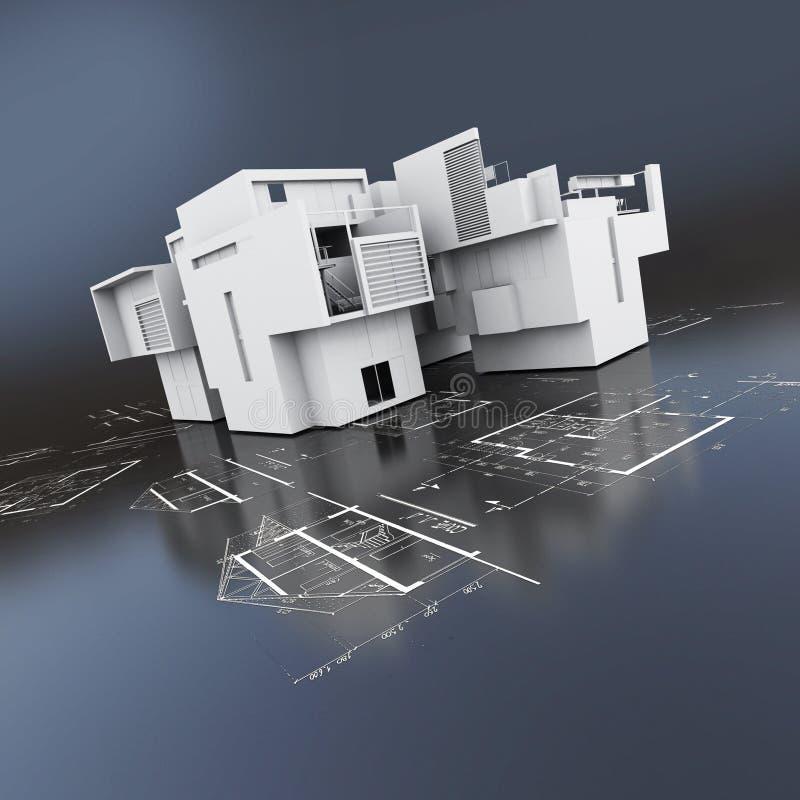 Без крыши здание поверх светокопий иллюстрация штока