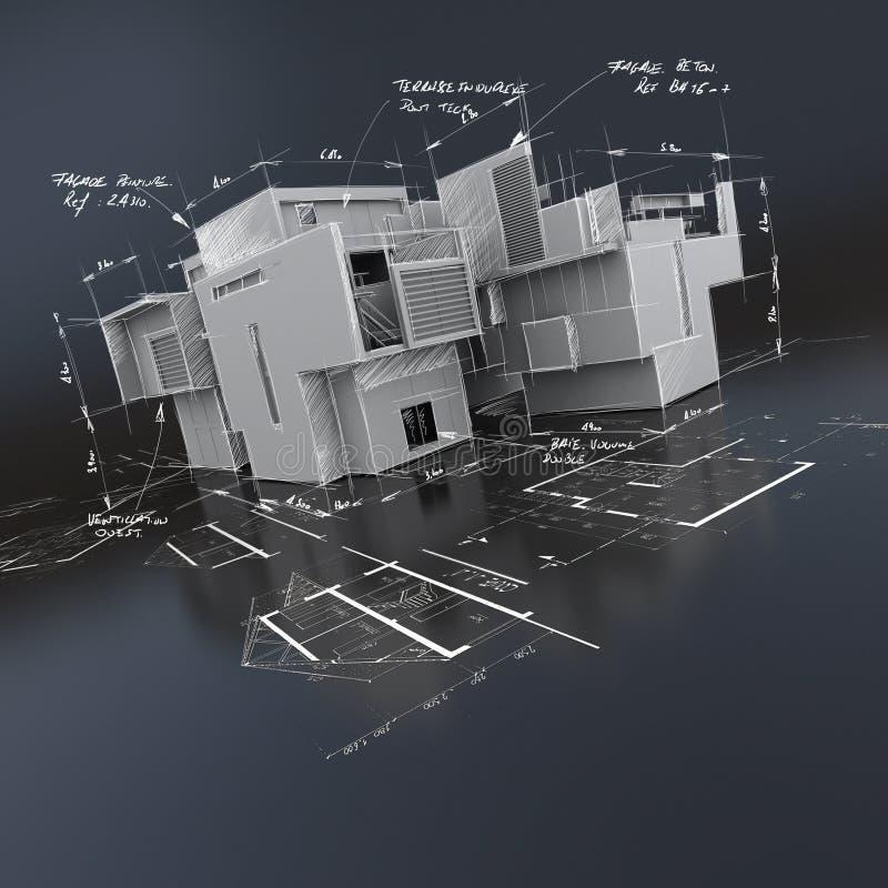 Без крыши здание поверх светокопий с написанными индикациями бесплатная иллюстрация
