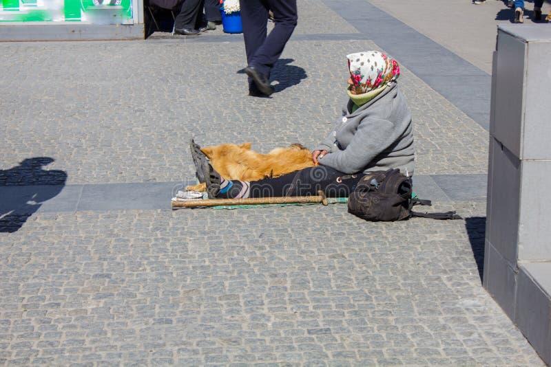Бездомная женщина умоляя в улице стоковое фото rf