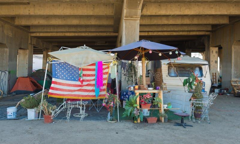Бездомный лагерь, Лос-Анджелес, Калифорния стоковые изображения