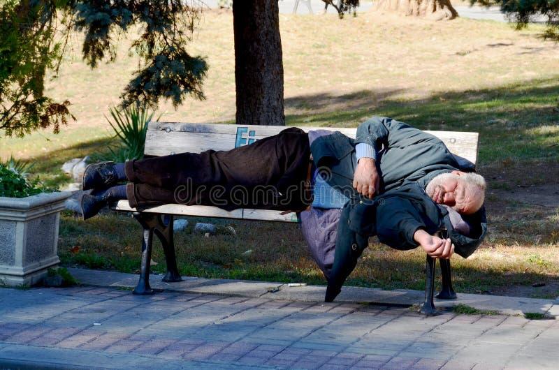 Бездомный человек спать на парке стенда стоковые фото