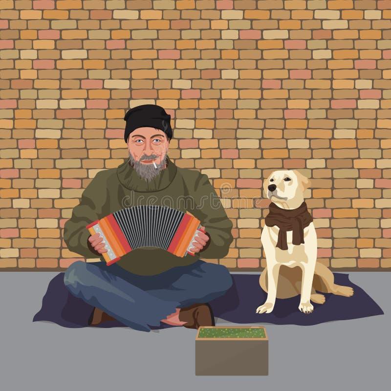 Бездомный человек с собакой Shaggy человек в пакостных ветошах играя сработанность аккордеона спрашивать помощь также вектор иллю бесплатная иллюстрация