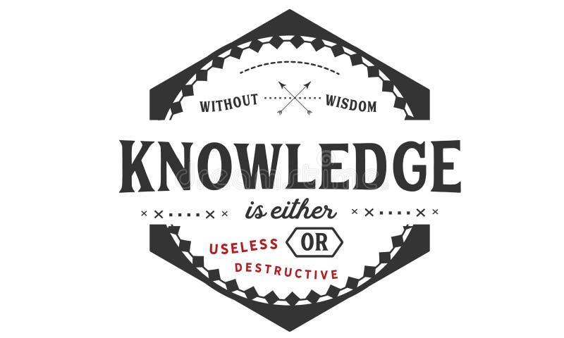 Без премудрости, знание или никудышно или разрушительно бесплатная иллюстрация